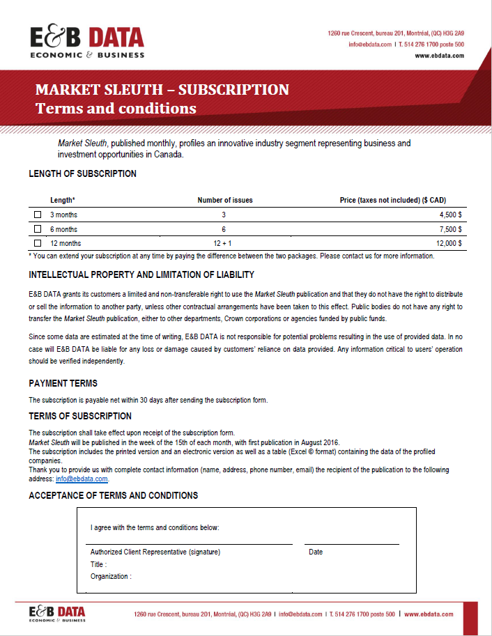 Subscription Form - Market Sleuth